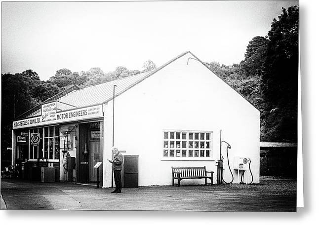Fuel Stop Greeting Card by Angela Aird