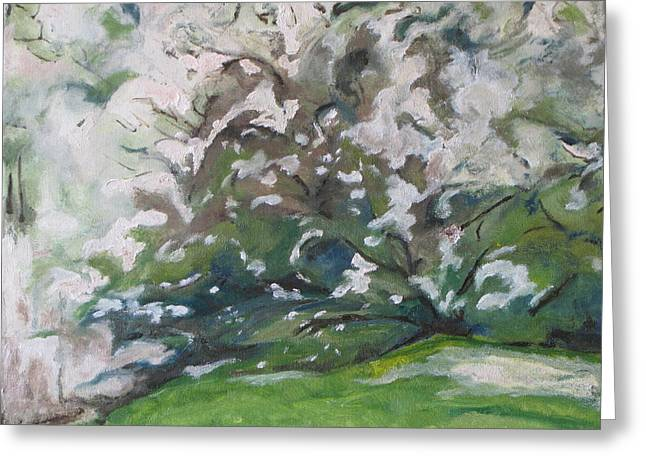 White Paintings Greeting Cards - Full Bloom Greeting Card by Francois Fournier