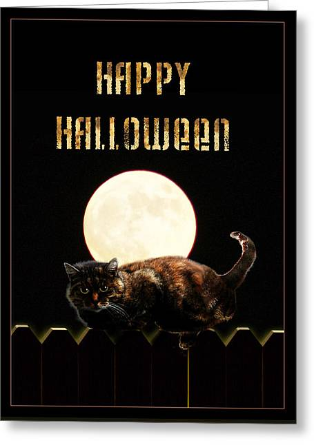 Creepy Cat Greeting Cards - Full Moon Cat Greeting Card by Gravityx9 Designs