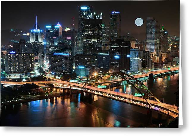 White Photographs Greeting Cards - Full Moon over Pittsburgh Greeting Card by Frozen in Time Fine Art Photography
