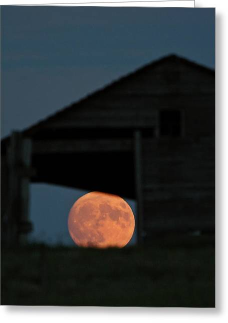 Opening Night Greeting Cards - Full moon seen through old building window Greeting Card by Mark Duffy