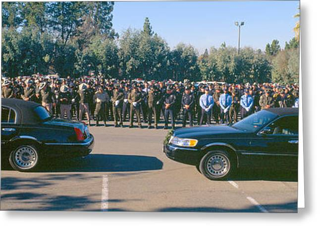 Police Officer Photographs Greeting Cards - Funeral Service For Police Officer Greeting Card by Panoramic Images