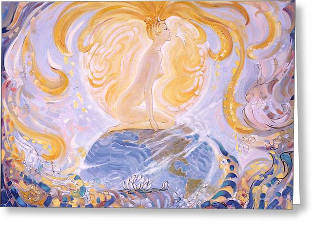 Gaia Paintings Greeting Cards - Gaia Greeting Card by Silvia  Duran
