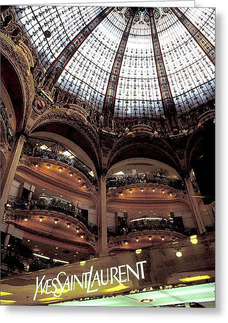 Yves Saint Laurent Greeting Cards - Galleries LaFayette Greeting Card by Carl Purcell
