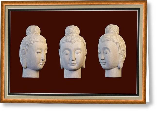 Rustic Sculptures Greeting Cards - Gandhara Greeting Card 1 Greeting Card by Terrell Kaucher