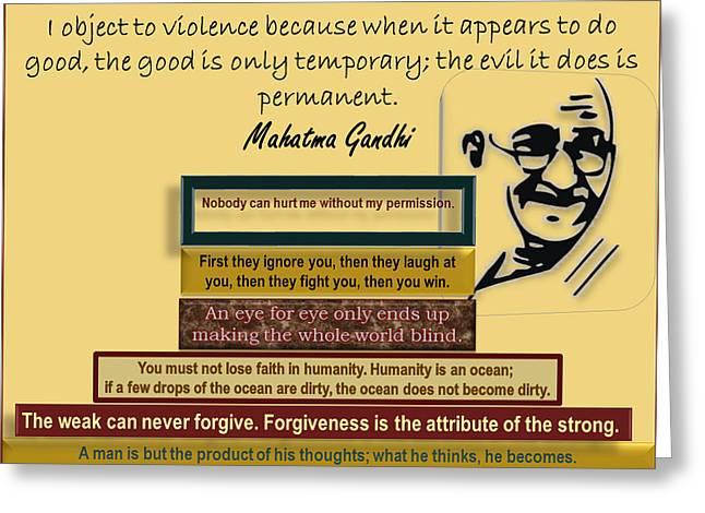 Gandhi - Non Violence Greeting Card by Ravi Kallianpur
