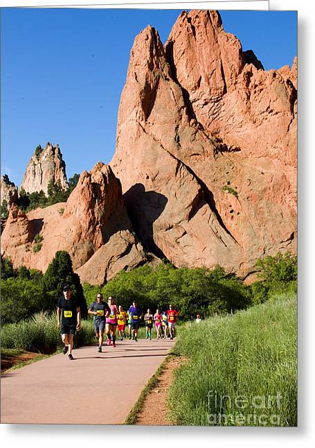 Jogging Greeting Cards - Garden of the Gods Ten Mile Run in Colorado Springs Greeting Card by Steve Krull