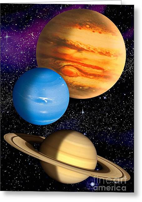 Gas Giant Planets, Artwork Greeting Card by David Ducros