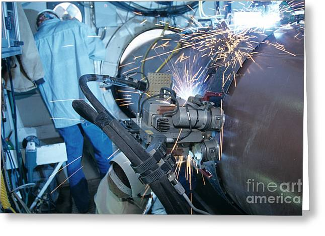 Welding Greeting Cards - Gas Pipeline Construction Greeting Card by Inga Spence