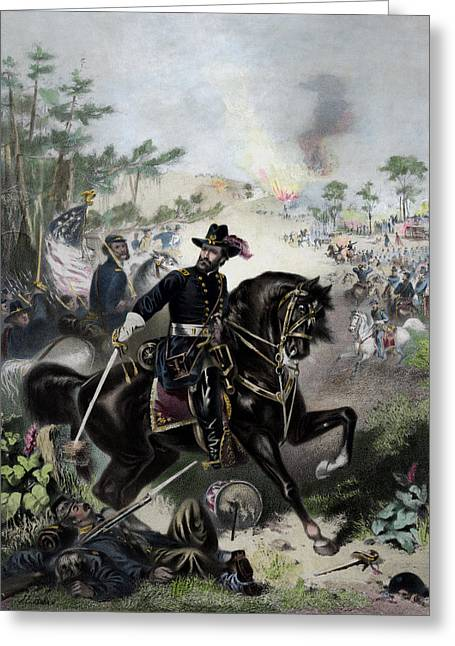 General Ulysses Grant Greeting Cards - General Grant During Battle Greeting Card by War Is Hell Store