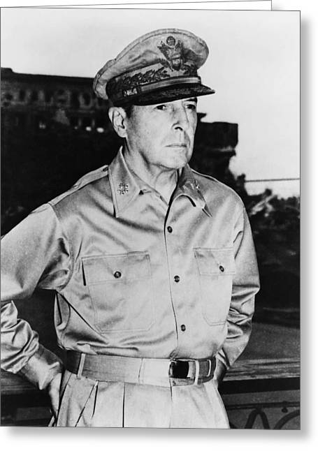 Army Photographs Greeting Cards - General MacArthur Greeting Card by War Is Hell Store