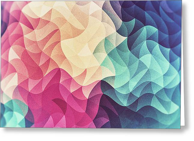 Geometry Triangle Wave Multicolor Mosaic Pattern  Hdr  Low Poly Art Greeting Card by Philipp Rietz