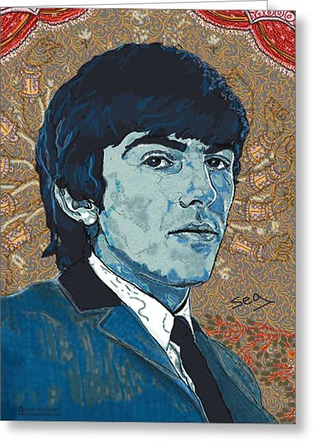 Singer Songwriter Drawings Greeting Cards - George Harrison Greeting Card by Suzanne Gee