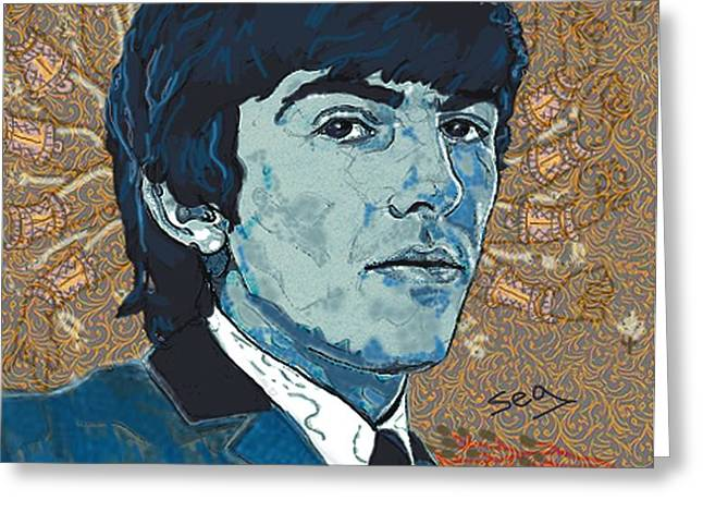 George Harrison Greeting Card by Suzanne Gee