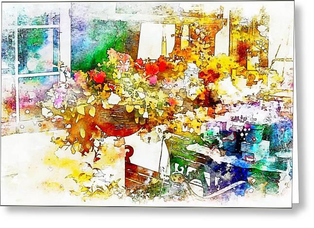 Abstract Digital Digital Art Greeting Cards - Georges Studio Greeting Card by John Lynch