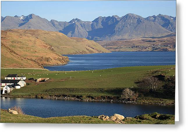 Scotland Greeting Cards - Gesto Bay and The Cuillins Greeting Card by Maria Gaellman