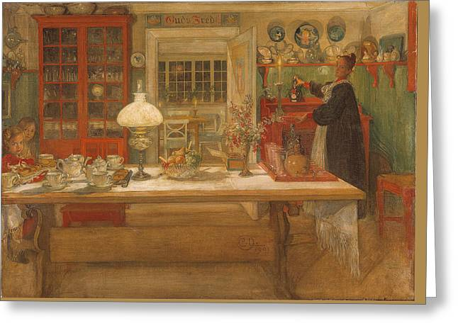 Getting Ready For A Game Greeting Card by Carl Larsson