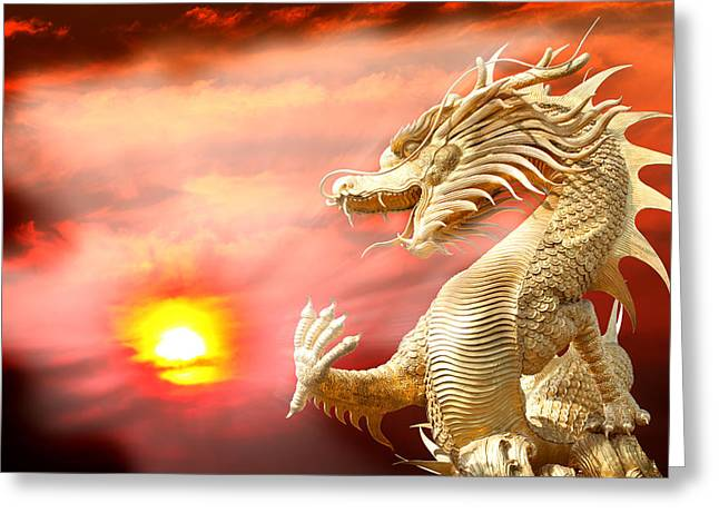 Taoism Greeting Cards - Giant golden Chinese dragon Greeting Card by Anek Suwannaphoom