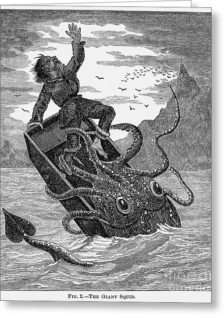 1879 Greeting Cards - Giant Squid, 1879 Greeting Card by Granger