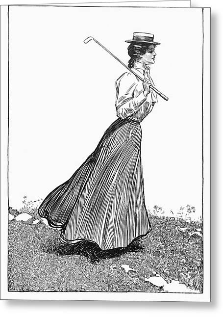 Sportswoman Greeting Cards - Gibson Girl, 1899 Greeting Card by Granger