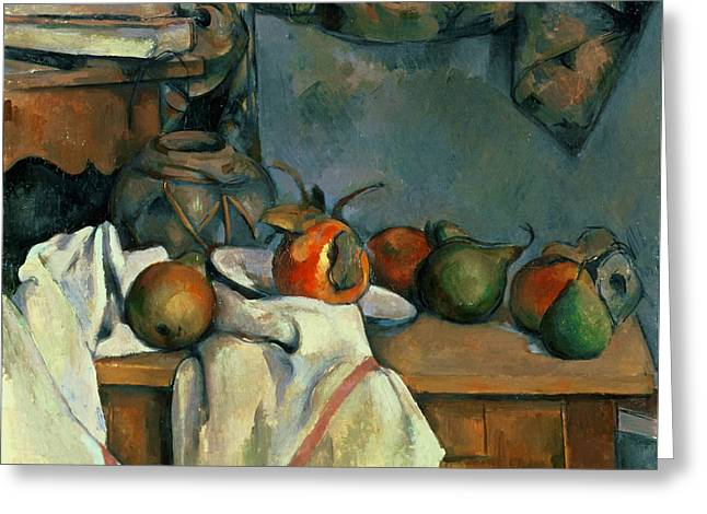 French Pears Greeting Cards - Ginger Pot with Pomegranate and Pears  Greeting Card by Paul Cezanne