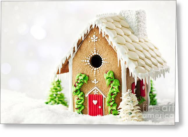 Frosting Greeting Cards - Gingerbread house Greeting Card by Ruth Black