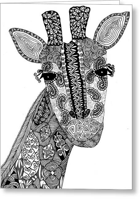 Giraffe Drawings Greeting Cards - Giraffe Greeting Card by Sharon White