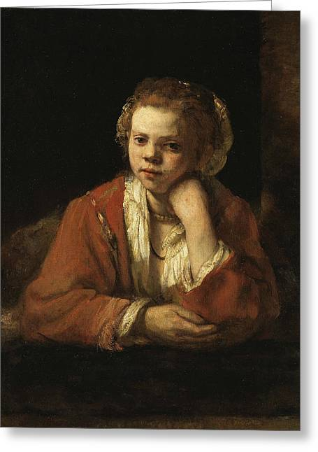 Girl At A Window Greeting Card by Rembrandt