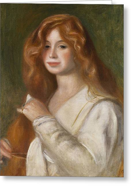 Nightdress Greeting Cards - Girl Combing her Hair Greeting Card by Pierre Auguste Renoir