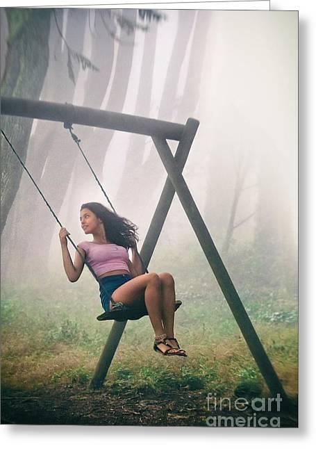 Girl In Swing Greeting Card by Carlos Caetano