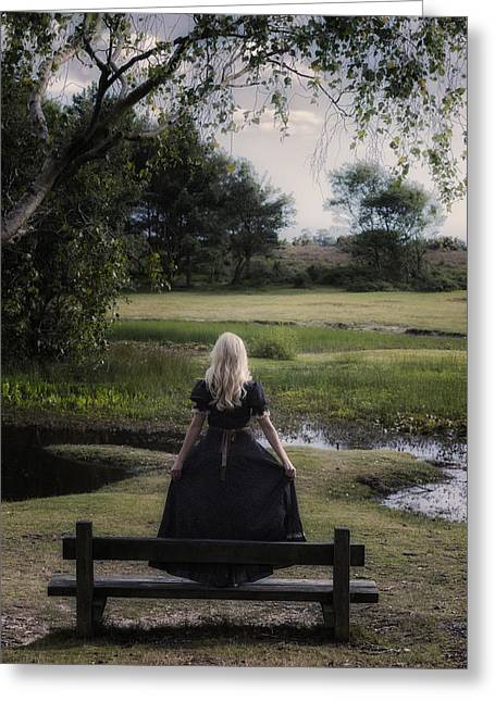 Girl On Bench Greeting Card by Joana Kruse