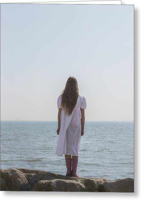 Rubber Boot Greeting Cards - Girl On Cliffs Greeting Card by Joana Kruse