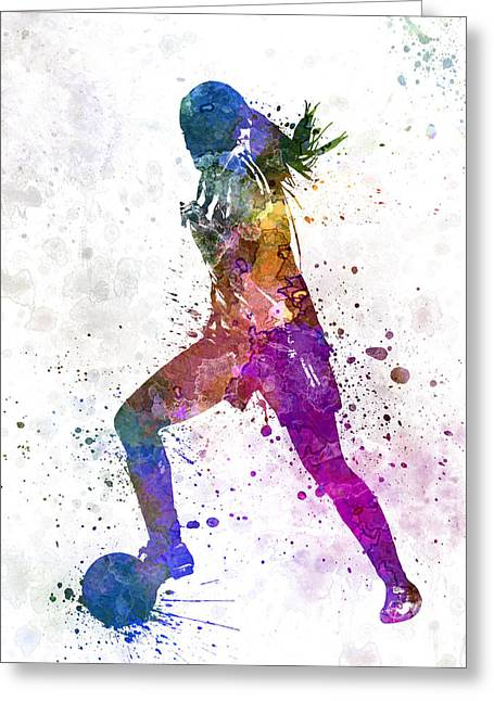 Juggling Greeting Cards - Girl playing soccer football player silhouette Greeting Card by Pablo Romero