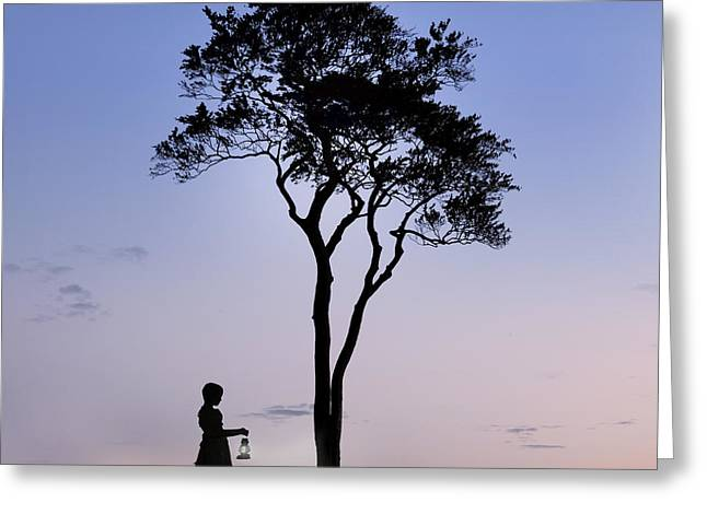 Girl With Lantern Greeting Card by Joana Kruse