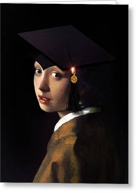 Girl With A Pearl Earring Greeting Cards - Girl with the Grad Cap Greeting Card by Gravityx9   Designs