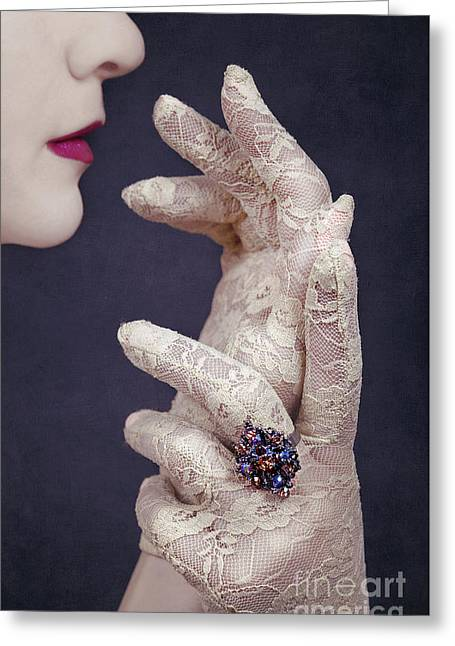 Lace Glove Greeting Cards - Glamour Girl Greeting Card by Svetlana Sewell