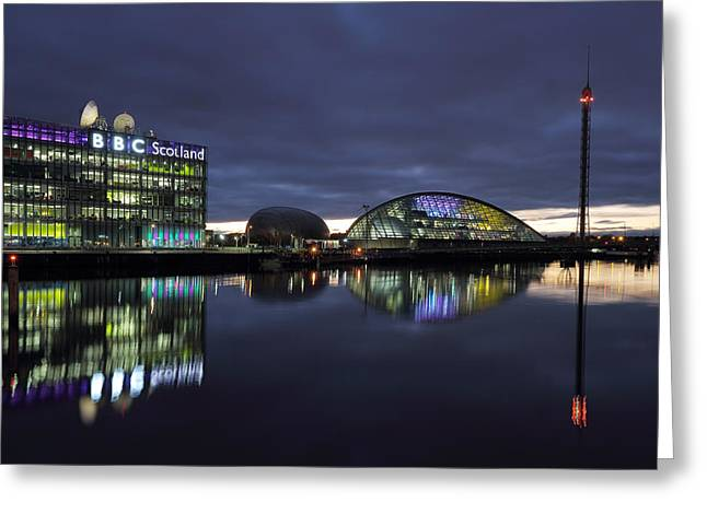 Reflections In River Greeting Cards - Glasgow River Clyde at Sunset Greeting Card by Maria Gaellman
