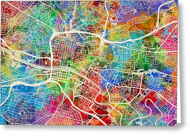 Streets Digital Greeting Cards - Glasgow Street Map Greeting Card by Michael Tompsett