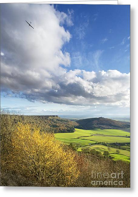 Gliding High Over Sutton Bank Greeting Card by John Potter