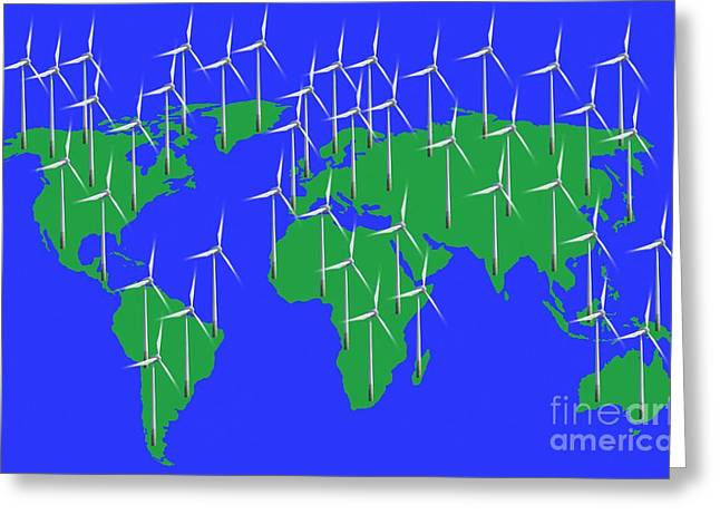 Industrial Concept Greeting Cards - Global Wind Power, Conceptual Image Greeting Card by Victor de Schwanberg
