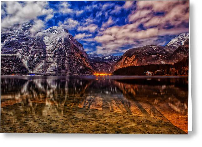 Hallstatt Greeting Cards - Glow Of Hallstatt Austria Among The Mountains Greeting Card by Dongchan Park