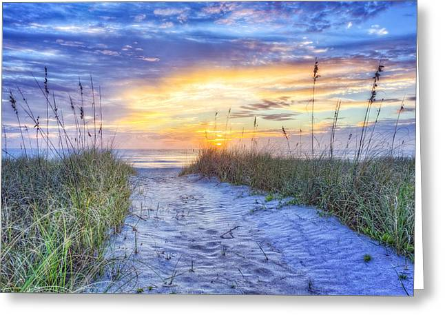 Sanddunes Greeting Cards - Glow on the Dunes Greeting Card by Debra and Dave Vanderlaan