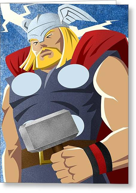 Superheroes Greeting Cards - God of Thunder Greeting Card by Arturo Vilmenay
