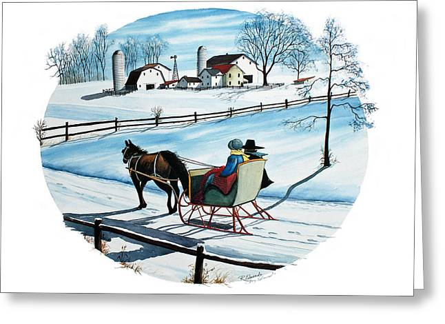 Snow Scene Landscape Greeting Cards - Going Home Greeting Card by Raymond Edmonds