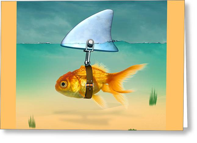 Funny Pop Culture Greeting Cards - Gold Fish  Greeting Card by Mark Ashkenazi