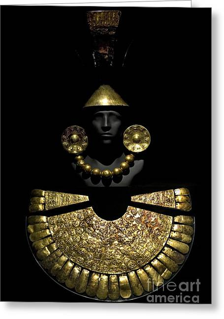 Artefact Greeting Cards - Gold Funerary Offering, Chimu Imperial Greeting Card by Tony Camacho