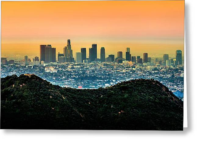 Tall Buildings Greeting Cards - Golden California Sunrise Greeting Card by Az Jackson