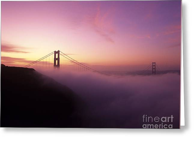 Foggy Ocean Greeting Cards - Golden Gate Bridge In Fog Greeting Card by Jim Corwin