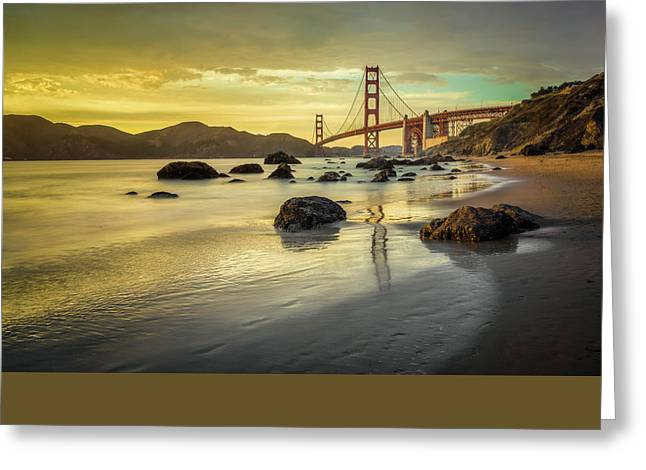 Marin Greeting Cards - Golden Gate Sunset Greeting Card by James Udall