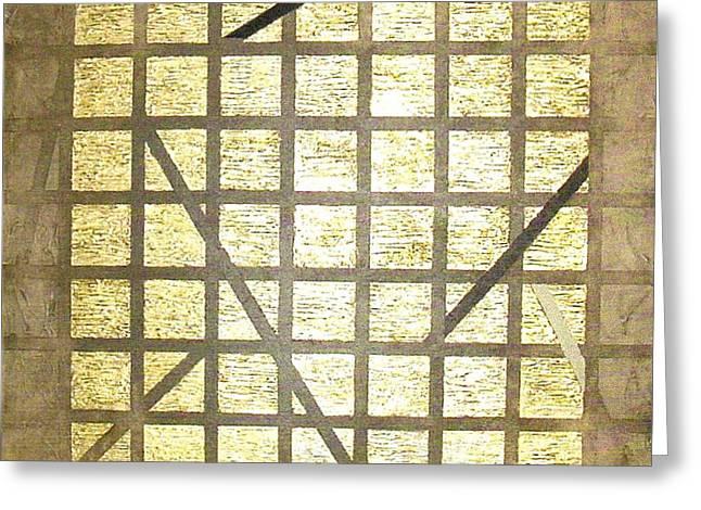 Bernard Goodman Greeting Cards - Golden Gridwork Greeting Card by Bernard Goodman
